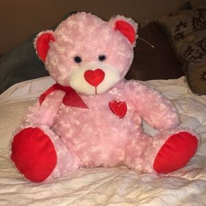 Pink red GOFFA Potbelly plush blue eyed bear NEW